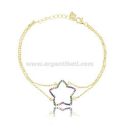 BRACELET FORZATINA CON CORN WITH STAR IN SILVER SILVER TIT 925 AND ZIRCONIA RAINBOW CM 18
