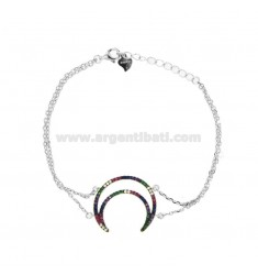 BRACELET CABLE WITH MOON CONTOUR IN SILVER RHODIUM TIT 925 AND ZIRCONIA RAINBOW CM 18