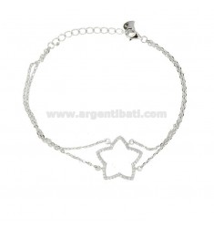 BRACELET FORZATINA WITH CONTOUR STAR IN SILVER RHODIUM TIT 925 AND WHITE ZIRCONIA CM 18