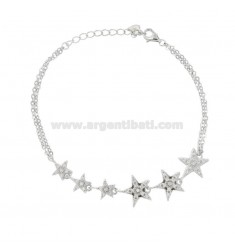 CABLE BRACELET WITH 6 STARS IN SILVER RHODIUM TIT 925 AND WHITE ZIRCONIA CM 18