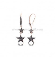 PENDENT EARRINGS WITH 2 STARS IN SILVER ROSE TIT 925 AND BLACK ZIRCONIA