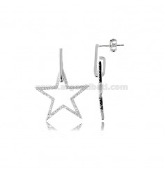 EARRINGS PENDING CONTOUR STAR IN SILVER RHODIUM TIT 925 WITH WHITE ZIRCONIA