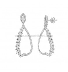 EARRINGS DROPPER IN SILVER RHODIUM TIT 925 WITH WHITE ZIRCONIA
