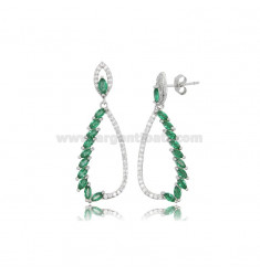 EARRINGS DROPPED IN SILVER RHODIUM TIT 925 WITH ZIRCONIA WHITE AND GREEN