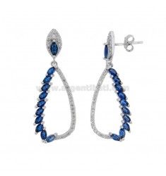 EARRINGS DROPPER IN SILVER RHODIUM TIT 925 WITH WHITE AND BLUE ZIRCONIA