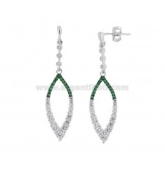 EARRINGS PENDANTS IN COPPER SILVER RHODIUM TIT 925 WITH ZIRCONIA WHITE AND GREEN