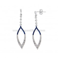 EARRINGS PENDANTS A COPPER SILVER RHODIUM TIT 925 WITH ZIRCONIA WHITE AND BLUE