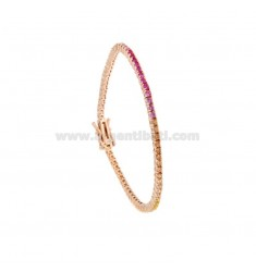 TENNIS BRACELET MM 2 IN ROSE SILVER WITH RAINBOW ZIRCONIA CM 18