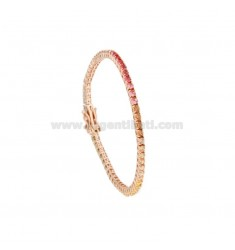 2.5 MM TENNIS BRACELET IN ROSE SILVER WITH RAINBOW ZIRCONIA CM 18