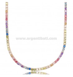 TENNIS NECKLACE 2.5 MM IN ROSE SILVER WITH RAINBOW ZIRCONS 45 CM