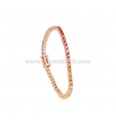 TENNIS BRACELET MM 3 IN ROSE SILVER WITH RAINBOW ZIRCONIA CM 18