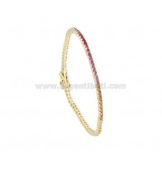 TENNIS BRACELET 2 MM GOLDEN SILVER WITH RAINBOW ZIRCONIA CM 18