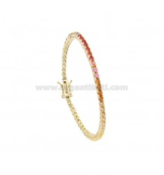 2.5 MM TENNIS BRACELET IN GOLDEN SILVER WITH RAINBOW ZIRCONIA CM 18