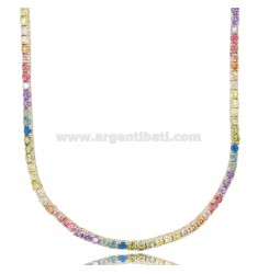 TENNIS NECKLACE MM 2,5 IN GOLDEN SILVER WITH ZIRCONS RAINBOW CM 45