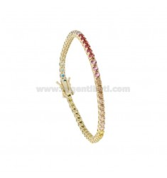 TENNIS BRACELET MM 3 IN GOLDEN SILVER WITH RAINBOW ZIRCONIA CM 18