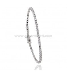 2.5 MM TENNIS BRACELET IN RHODIUM SILVER WITH WHITE ZIRCONIA CM 16