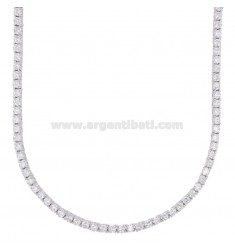 2.5 MM TENNIS NECKLACE IN SILVER RHODIUM WITH WHITE ZIRCONIA CM 40