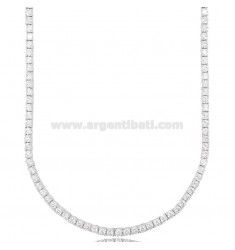 2.5 MM TENNIS NECKLACE IN SILVER RHODIUM WITH WHITE ZIRCONIA CM 50