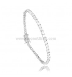 TENNIS BRACELET 3 MM IN RHODIUM SILVER WITH WHITE ZIRCONIA CM 16