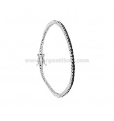 TENNIS BRACELET MM 2 IN RHODIUM SILVER WITH BLACK ZIRCONIA CM 21
