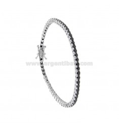 2.5 MM TENNIS BRACELET IN SILVER RHODIUM WITH BLACK ZIRCONIA CM 18