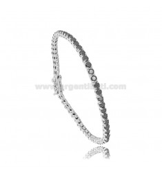 TENNIS BRACELET MM 3 IN RHODIUM SILVER WITH BLACK ZIRCONIA CM 18