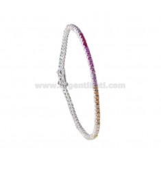 BRACCIALE TENNIS MM 2 IN ARGENTO RODIATO CON ZIRCONI RAINBOW CM 18