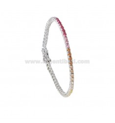 2.5 MM TENNIS BRACELET IN RHODIUM SILVER WITH RAINBOW ZIRCONIA CM 18
