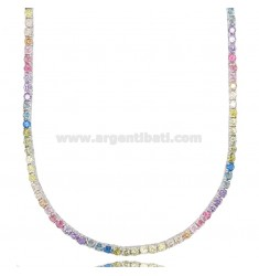 TENNIS NECKLACE 2.5 MM IN RHODIUM-PLATED SILVER WITH RAINBOW ZIRCONS 45 CM