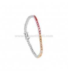 BRACCIALE TENNIS MM 3 IN ARGENTO RODIATO CON ZIRCONI RAINBOW CM 18