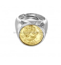 RING WITH COIN 16 MM IN SILVER RHODIUM AND GOLDEN TIT 925 ‰ SIZE ADJUSTABLE FROM PINCH
