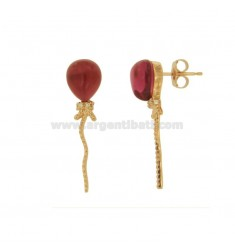 11X10 MM BALLOON EARRING COLOR IN ROSE GOLD PLATED AG TIT 925 ‰ WITH HYDROTHERMAL STONES 16 FUCHSIA COLOR AND ZIRCONIA