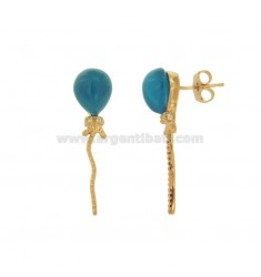 BALLOON EARRINGS 11X10 MM COLOR IN ROSE GOLD PLATED AG TIT 925 ‰ WITH HYDROTHERMAL STONES COLOR SEA BLUE 30 AND ZIRCONIA