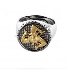 ROUND RING WITH TRINACRIA IN BRUNISH SILVER AND GOLD PLATED TIT 925 URA SIZE 16