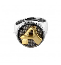 16 MM ROUND RING WITH LETTER A IN SILVER AND GOLD PLATED TIT 925 ‰
