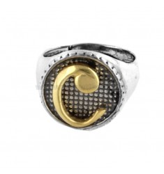 16 MM ROUND RING WITH C LETTER IN SILVER AND GOLD PLATED TIT 925 TIT