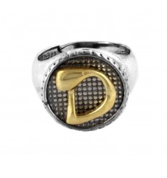 16 MM ROUND RING WITH LETTER D IN BRUNISH SILVER AND GOLD PLATED TIT 925 ‰