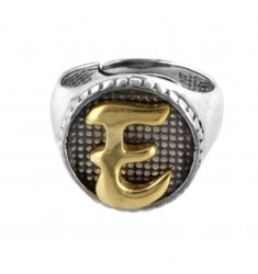 16 MM ROUND RING WITH LETTER AND IN BURNED SILVER AND GOLD PLATED TIT 925 ‰