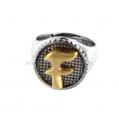 16 MM ROUND RING WITH F LETTER IN SILVER AND GOLD PLATED TIT 925 ‰
