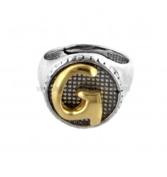 16 MM ROUND RING WITH LETTER G IN BRUNISH SILVER AND GOLD PLATED TIT 925 ‰