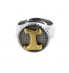 16 MM ROUND RING WITH LETTER I IN BRUNISH SILVER AND GOLD PLATED TIT 925 ‰