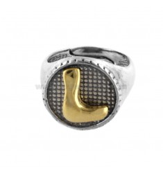 16 MM ROUND RING WITH L-LETTER IN BURNISHED SILVER AND GOLD PLATED TIT 925 ‰