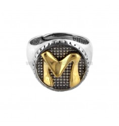 16 MM ROUND RING WITH LETTER M IN BURNED SILVER AND GOLD PLATED TIT 925 ‰