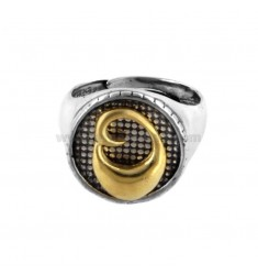 16 MM ROUND RING WITH LETTER OR IN BURNED SILVER AND GOLD PLATED TIT 925 ‰