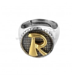 16 MM ROUND RING WITH RETURNED LETTER IN SILVER AND GOLD PLATED TIT 925 ‰