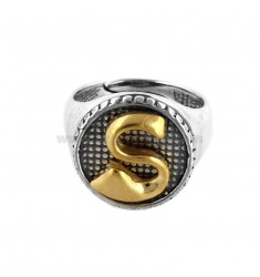 16 MM ROUND RING WITH LETTER S IN BRUNISH SILVER AND GOLD PLATED TIT 925 ‰