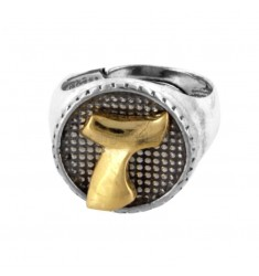 16 MM ROUND RING WITH T LETTER IN BRUNISH SILVER AND GOLD PLATED TIT 925 ‰