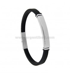 BRACELET IN STEEL AND BLACK CUFF WITH MM 5 WITH PLATE