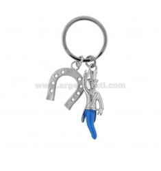 KEY RING WITH GOBBO HORN AND HORSESHOE IN STEEL AND ENAMEL