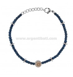 BRACELET WITH STEEL RUDDER AND BLUE STONES CM 21